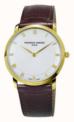 Frederique Constant Caixa slim banhada a ouro de quartzo para homem FC-200RS5S35