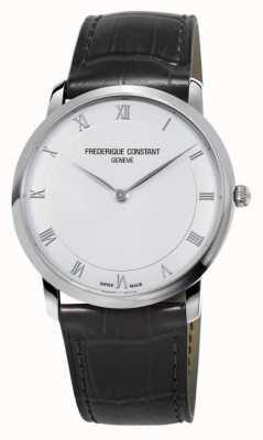 Frederique Constant Bracelete de couro preto slim de quartzo para homem FC-200RS5S36