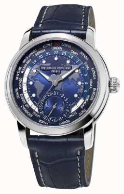 Frederique Constant Fabricante dos homens worldtimer mostrador azul pulseira azul FC-718NWM4H6