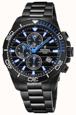Festina Mens pvd preto banhado pulseira preta crono dial relógio azul F20365/2
