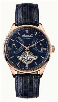 Ingersoll Mens hawley automático azul mostrador pulseira de couro azul I04608