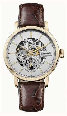 Ingersoll Mens a pulseira de couro marrom automático smith dial de prata I05704
