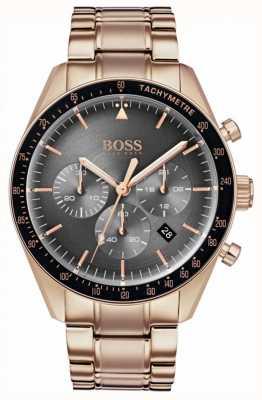 Boss Relógio Mens Troféu cronógrafo cinza dial rosa tom de ouro 1513632