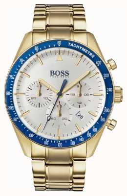 Hugo Boss Mens troféu relógio branco cronógrafo dial ouro tom 1513631