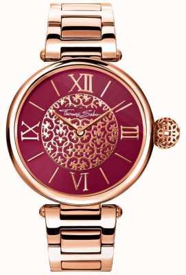 Thomas Sabo Carma das mulheres rosa pulseira de tom de ouro vermelho sunray dial watch WA0306-265-212