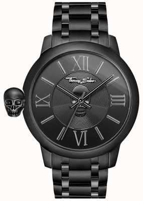 Thomas Sabo Mens rebelde com karma preto ip aço inoxidável caveira relógio WA0305-202-203