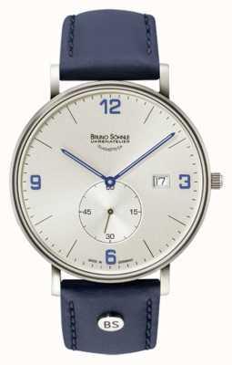 Bruno Sohnle Mens frankfurt grande prata mostrador pulseira de couro azul 17-13187-263
