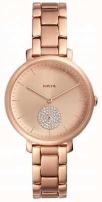 Fossil Jaqueline das mulheres rosa pulseira de ouro tom relógio simples dial ES4438