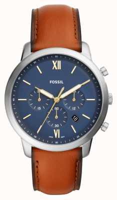 Fossil Mens neutra azul cronógrafo mostrador pulseira de couro marrom FS5453