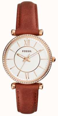Fossil Womens carlie pulseira de couro marrom mostrador branco ES4428