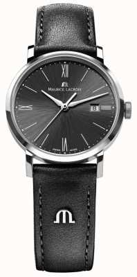 Maurice Lacroix Womens eliros pulseira de couro preto mostrador preto EL1084-SS001-310-1