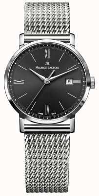 Maurice Lacroix Mostrador preto pulseira de aço inoxidável eliros milanais das mulheres EL1084-SS002-313-1