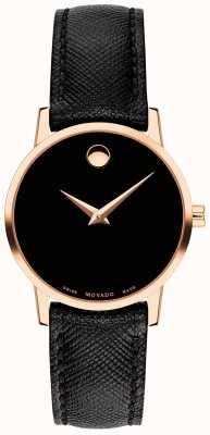 Movado Womens museum pulseira de couro preto rosa de ouro 0607206