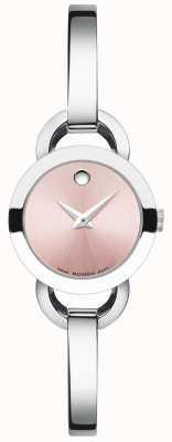 Movado Rondiro aço inoxidável pulseira rosa discagem das mulheres 0606797