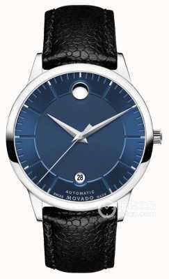 Movado Mens 1881 automático mostrador azul pulseira de couro preto 0607020