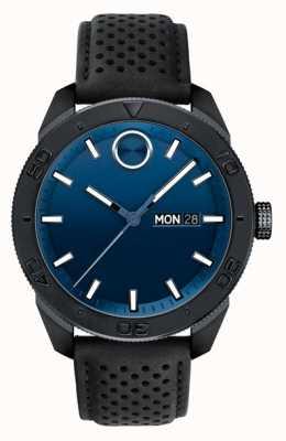 Movado Bracelete de couro perfurado preto com mostrador azul em negrito 3600495