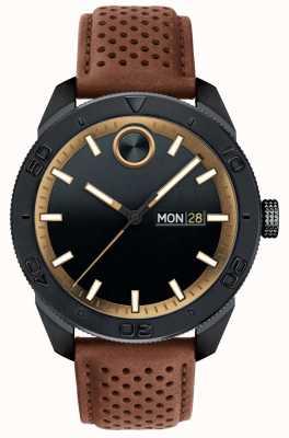 Movado Mens negrito preto mostrador marrom pulseira de couro perfurada 3600496