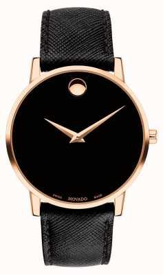Movado Mens museu pulseira de couro preto caso banhado a ouro 0607196