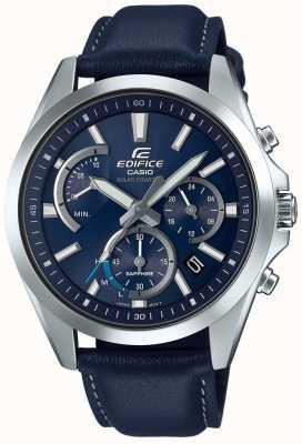 Casio Couro azul do chronograph retrograde solar da safira do edifício EFS-S530L-2AVUEF