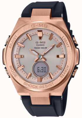 Casio G-ms baby-g rosa ouro pulseira preta solar resistente MSG-S200G-1AER