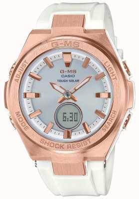 Casio G-ms baby-g rosa ouro resistente pulseira branca solar MSG-S200G-7AER
