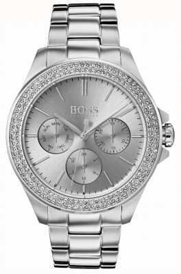 Boss Womens premiere conjunto de cristal de aço inoxidável 1502442