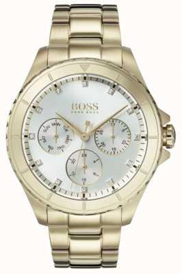 Hugo Boss Womens premiere banhado a ouro pulseira de discagem de prata 1502445