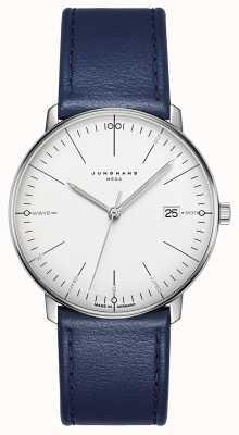 Junghans Max bill mega mf pulseira de couro azul 058/4822.00