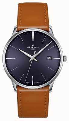 Junghans Meister mega mf marrom azul pulseira de couro de discagem 058/4801.00