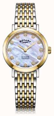 Rotary Womens windsor diamante data dois tons pulseira de relógio LB05301/41/D