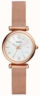 Fossil Womens mini carlie rosa pulseira de malha de ouro relógio ES4433
