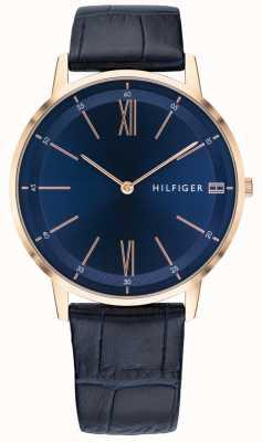 Tommy Hilfiger Relógio cooper masculino, pulseira de couro azul, caixa em tom de ouro rosa 1791515