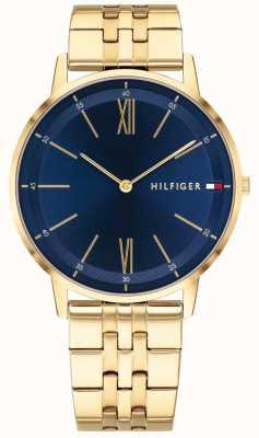 Tommy Hilfiger Cooper homens relógio tom de ouro pulseira mostrador azul 1791513