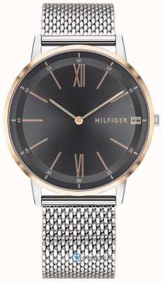 Tommy Hilfiger Cooper homens relógio pulseira de malha de aço inoxidável mostrador preto 1791512