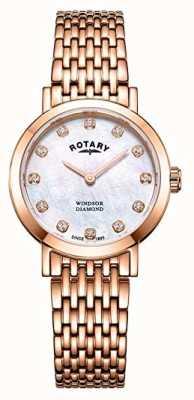 Rotary Womens windsor diamante rosa pulseira de ouro tom relógio LB05304/41/D