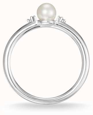 Thomas Sabo Pérola de prata esterlina e anel de diamante branco tamanho 54 D_TR0039-765-14-54