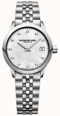 Raymond Weil Womens freelancer mãe de relógio de diamantes de discagem pérola 5626-ST-97081