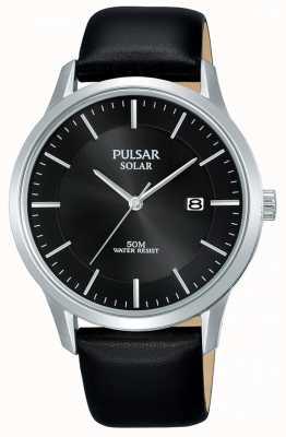 Pulsar Mens caixa de aço inoxidável preto pulseira de couro com mostrador solar PX3163X1