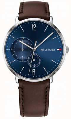Tommy Hilfiger Bracelete de couro marrom com mostrador azul dos homens 1791508