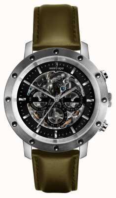 Weird Ape Icarus 3 mostrador preto prata / pulseira de couro verde-oliva WA02-005721
