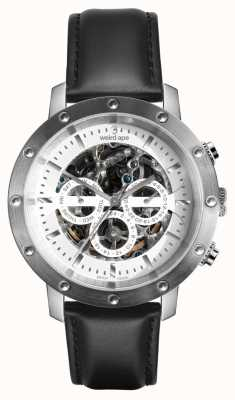 Weird Ape Icarus 3 dial prata pulseira de couro branco / preto WA02-005740