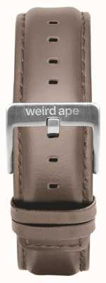 Weird Ape Couro de avelã 20mm cinta prata fivela ST01-000101