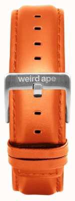 Weird Ape Correia de couro laranja 20mm cinta prata ST01-000111