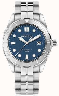 Michel Herbelin Mens newport troféu prata pulseira mostrador azul 1660/15B
