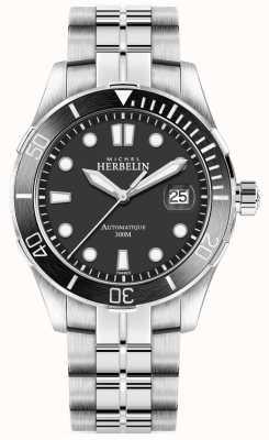 Michel Herbelin Mens newport troféu pulseira de prata mostrador preto 1660/N14B