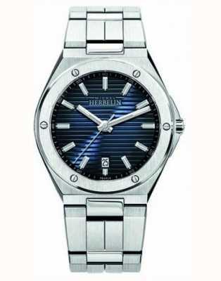Michel Herbelin Mens relógio de aço inoxidável mostrador azul 12245/B15