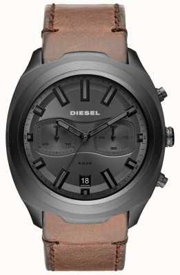 Diesel Mens tumbler relógio de pulseira de couro marrom cronógrafo cinza DZ4491