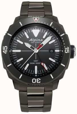 Alpina Mens seastrong diver gmt relógio com revestimento de titânio preto AL-247LGG4TV6B