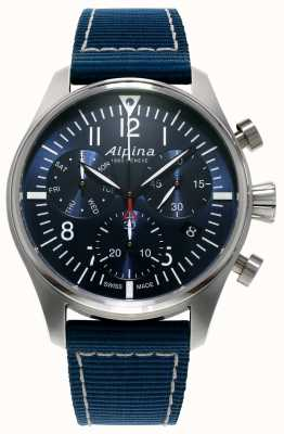 Alpina Mens startimer piloto cronógrafo quartzo azul AL-371NN4S6