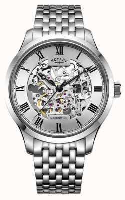 Rotary Mens pulseira de aço inoxidável relógio de esqueleto de greenwich GB02940/06